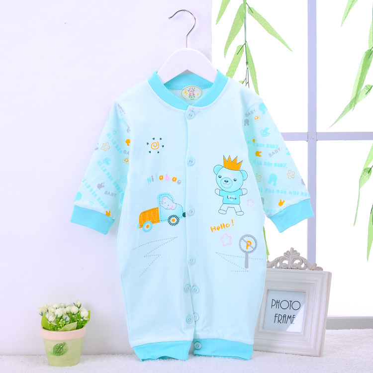 The spring and autumn period and the male and female baby crawling baby conjoined air conditioning cartoon cotton clothing(China (Mainland))