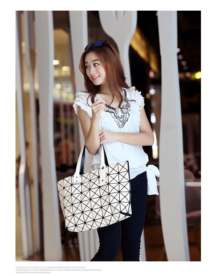 Ladies Japan BAOBAO Bag tote Geometric Women Handbag Sequins Laser Plain Folding bags Feminine Famous Brand Shoulder Bag BAOBAO