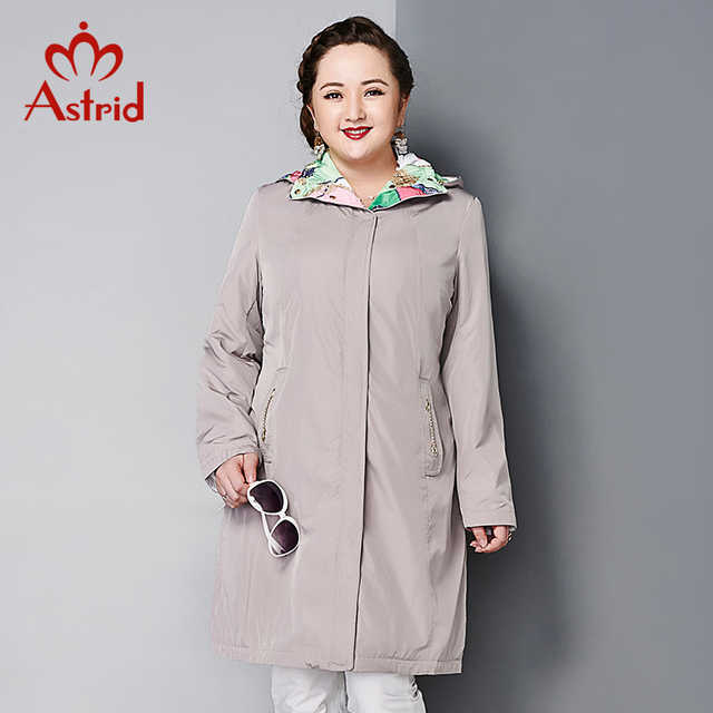 Astrid 2015 Women's Coat High Quality Autumn Winter Trench Slim Hooded Polar Fleece Pattern Detachable Hood Big Size AY-1518