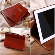 Luxury Retro Ancient Vintage Old Flip Book Style PU Leather Case Magnetic Stand Smart Cover For iPad Air 2/ipad234/Mini123/mini4(China (Mainland))