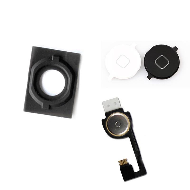 HOT High iPhone 4S 4G 5 5G 5C Home Menu Button Return Flex Cable Rubber Gasket Cap Mat Full Set Replacement Part