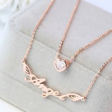 18K Rose Gold / Platinum Filled Letter Angel Wing Zirconia Heart Double Chain Necklace Women 2015 Two Layered Alphabet Necklace(China (Mainland))