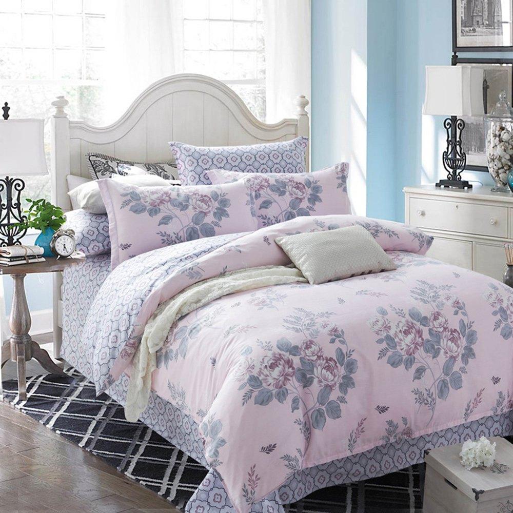 2016 new arrival pink flower 4 piece bedding set bed sheet