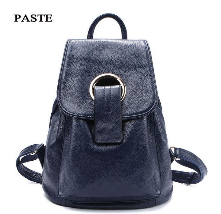 Фотография PASTE Famous Brand Genuine Leather Designer Backpack for Women High Quality Travel Bag Fashion Backpacks for Girls
