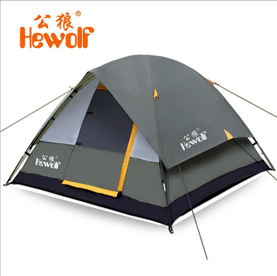 High Quality Waterproof Fiberglass Double Layer Outdoor Camping Tent 3 person 4 Hiking Hewolf Beach Tent Tourist 2015 New tente(China (Mainland))