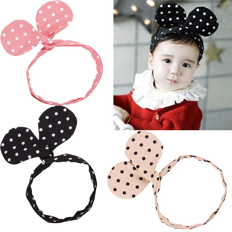 Girls Big Mickey Ears Headband Kids Hair Accessories Baby Dot Mickey Headband mouse Ear Bowknot Headwear(China (Mainland))