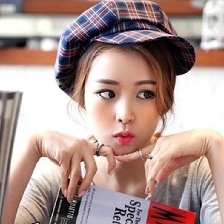 2015 Summer Retro British Style Hit Color Plaid Female Painter Hat Octagonal Cap Newsboy Caps Free Shipping HT-0149(China (Mainland))