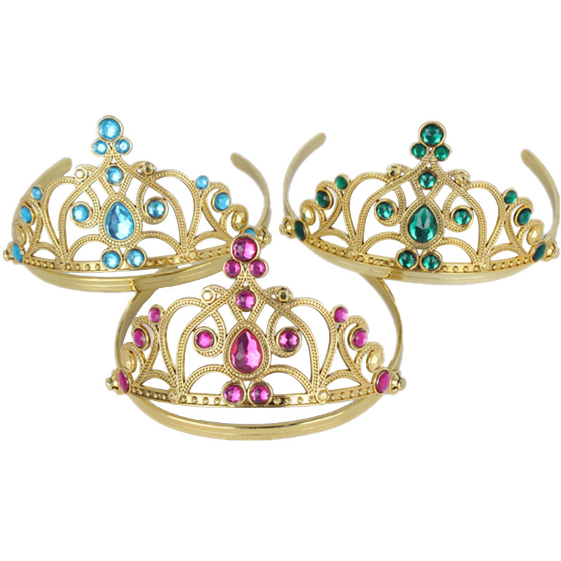 New Fashion Cute 15 Rhinestone Princess Girls Crystal Wedding golden crown headdress Headband Tiara N218(China (Mainland))