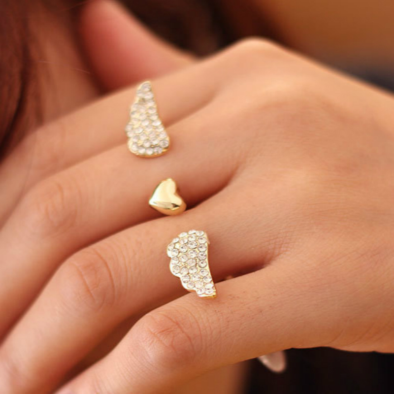 Accessories Fashion Auger Double Loop Rings Opening Love Wings For Women R183 B3.2 F0031(China (Mainland))