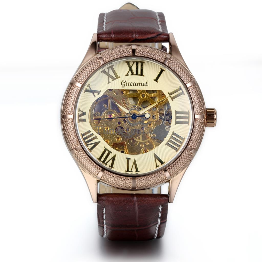 Luxury Gold Metal Case Skeleton Dial Roman numerals Men Automatic Mechanical Brown Leather Strap Wrist Men's Dress Watch(China (Mainland))