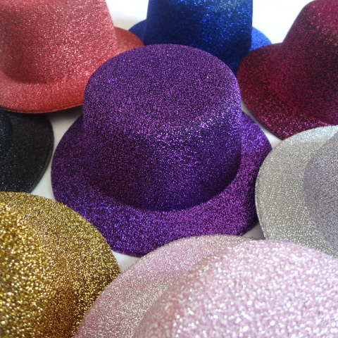 13cm 12pcs/lot Free Shipping Hen Party Felt Glitter Mini Top Hat Fascinator Base for DIY Woman girls hair accessories(China (Mainland))