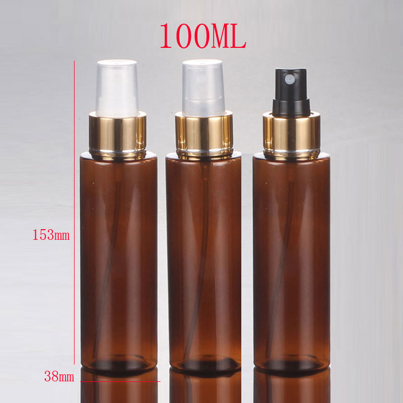 100ml brown ( amber ) empty perfumes sprayer pump plastic bottles,refillable empty spray bottle containers with gold collar<br><br>Aliexpress