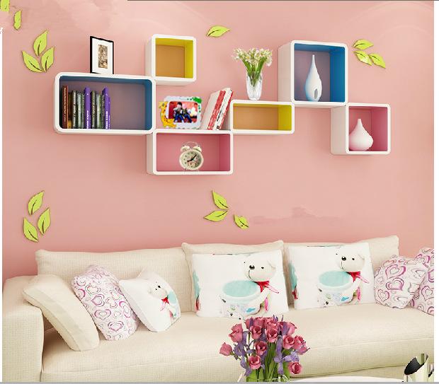 YoHere living room furniture storage 3 pcs curio shelf partition wall sofa background decoration creative racks(China (Mainland))