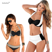 Buy Bikinis 2017 Sexy Female Swimwear Women Push Swimsuit High Waist Bikini Halter Top Bikini Set Beach Bathing Suit Swim Biquini for $9.68 in AliExpress store