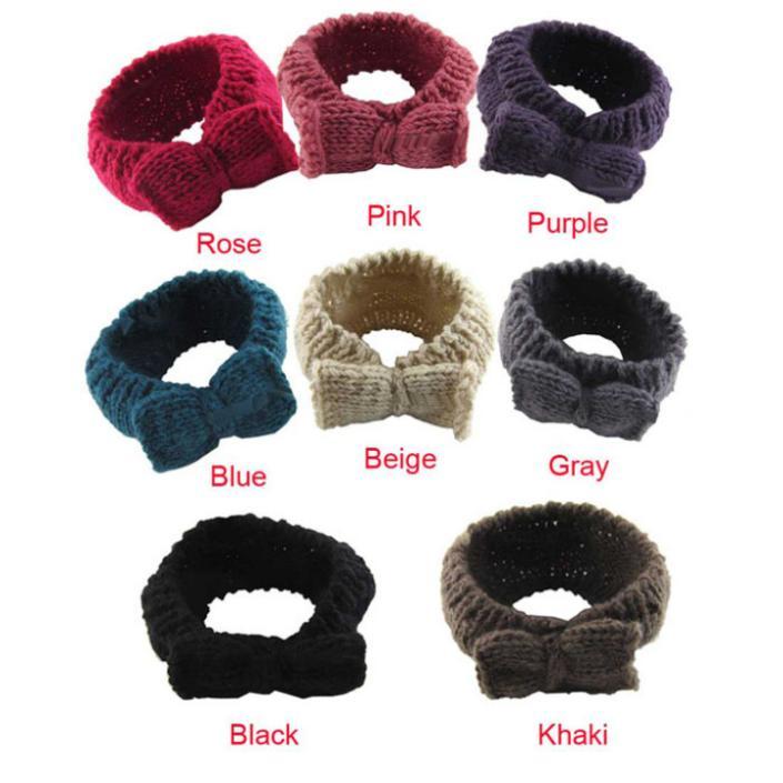 Creative New Women Crochet Headband Bow Knit Winter Headwrap Ear Warmer HairBand(China (Mainland))