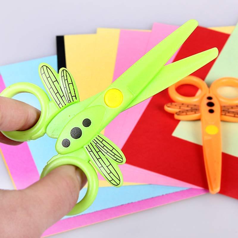 68 student stationery child safety scissors plastic scissors handmade paper-cut safety scissors(China (Mainland))