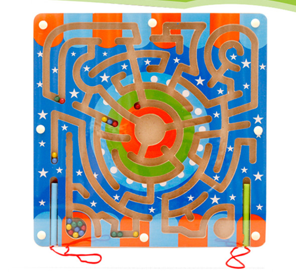Free shipping 1pc magnetic circular maze children early intelligence educational wooden toy school kindergarten baby gift(China (Mainland))