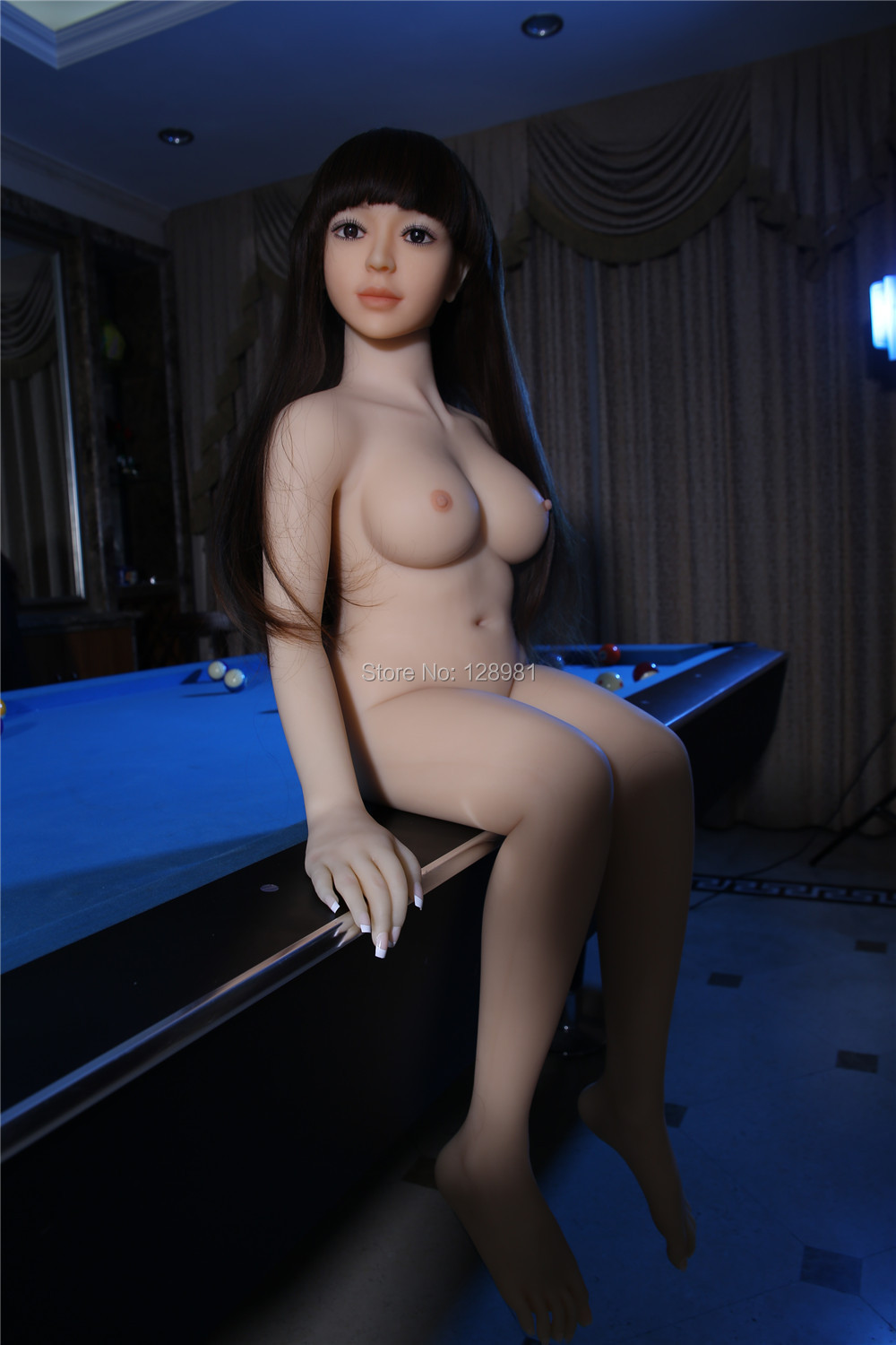 125cm vagina anal two holes black long hair naked real silicone sex doll <br>