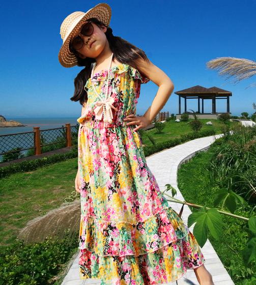 Retail Girls Floral Beach Dress Chiffon Summer Kids Girls Bohemian Dress for Children Long Slip Dress Age 4 - 10<br><br>Aliexpress