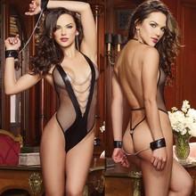 Women Sexy Lace Lingerie Exotic Teddy Tight Net Cloth Binding Transparent 3 Point Micro Bikini Costume Panties Erotic Underwear