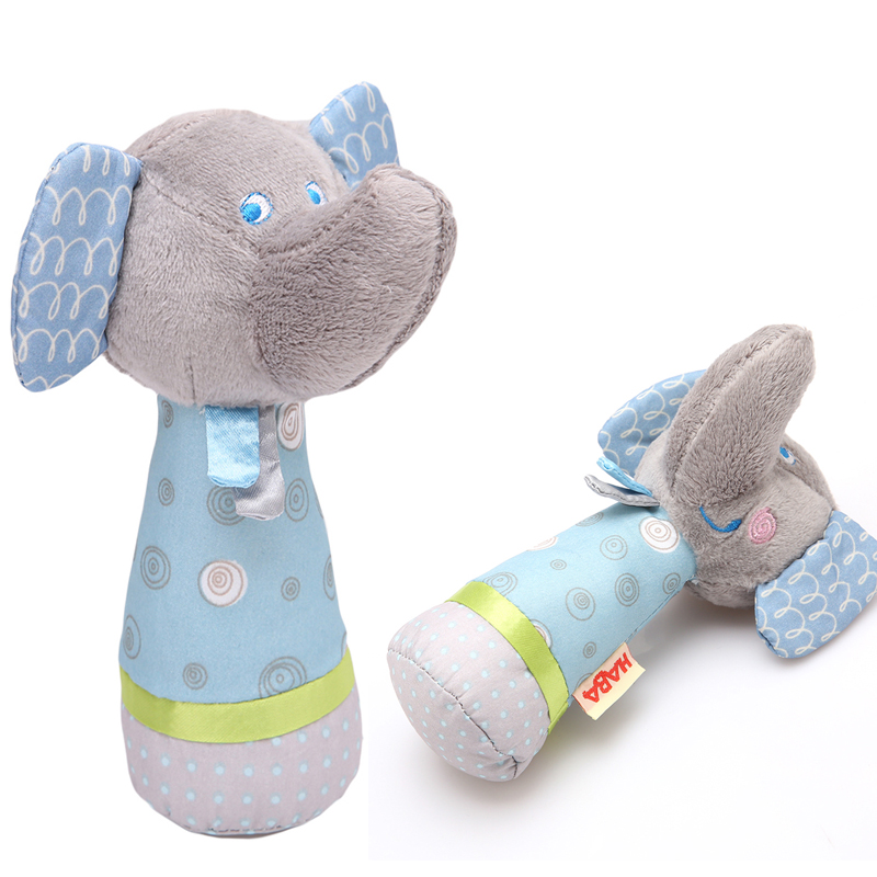 2016 Baby Rattle Toys Animal Hand Bells Plush Baby Toy With BB Sound Toy Newbron Gift Christmas Gray Elephant Plush Doll(China (Mainland))