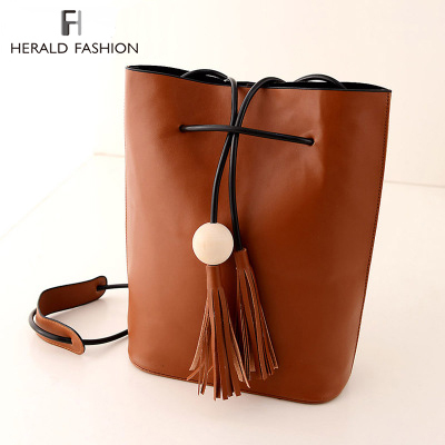 AliExpress.com Product - Vintage Tassel Fringe White Ball Bucket Bag For Women Female Messenger Bag Shoulder Bag String Casual Quality Leather New 2014