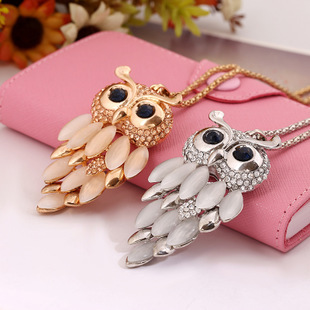 6 Style New Brand Long Necklace Owl Necklace & Pendants Crystal Jewelry Owl Vintage Necklaces For Women Statement Necklace 2015(China (Mainland))