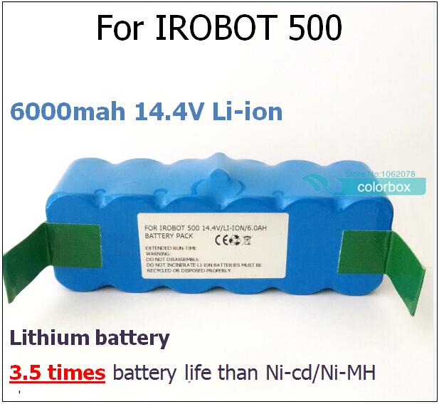 for iRobot Roomba 500 6000mAh Li-ion Battery for iRobot 500 532 540 550 560 570 580 R3 510 532 535 550 562 610 Lithium Battery(China (Mainland))
