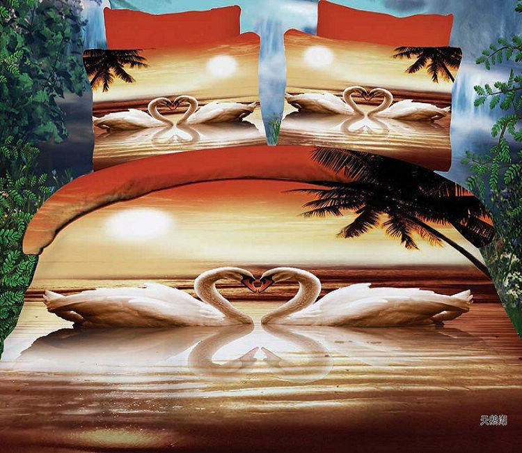 3D Printing Romantic Swan Lake Bedding Set Queen Size ...