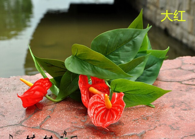 1pc New Design Artificial Flowers Potted Three Heads Anthurium For Home/Table Decoration 3 heads single  MA1963