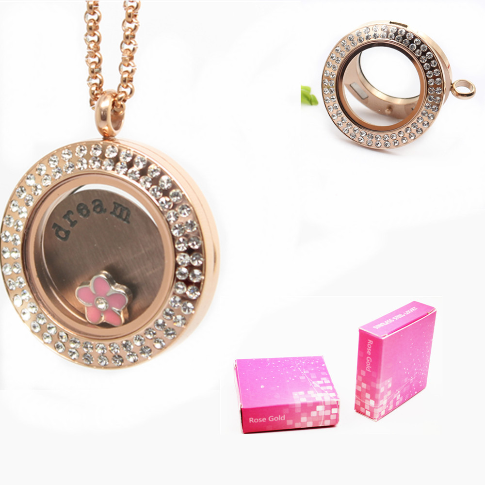 35mm Magnetic Closure Rose Gold 316L Stainless Steel Glass Pendant Floating Locket<br><br>Aliexpress