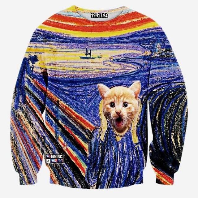 Новый дизайн 2015 женщины / мужчины печать животных кот пуловеры 3d толстовки мода ...