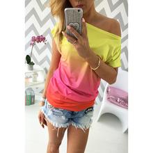 2016 summer women t shirt vestidos rainbow gradual change print tops casual female(China (Mainland))