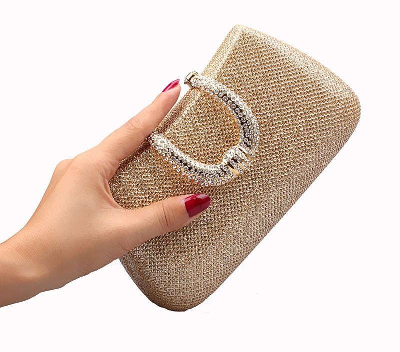 Bolsa De Strass Dourada : Bolsa de festa dourada p?rolas strass e pedras meus