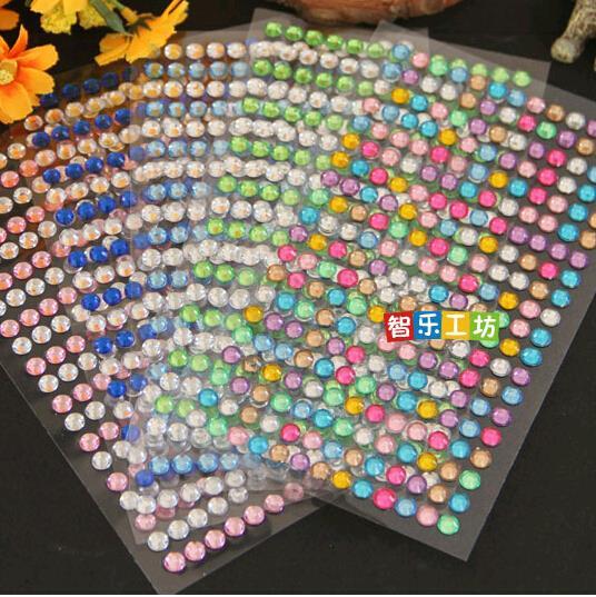 (1 Lot=260 Pcs) 6 mm 13 Styles DIY post it Korean Stationery hand children's Diamonds Stickers Phone Acrylic Crystal Rhinestone(China (Mainland))