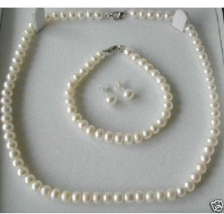 "Charming 7-8mm white pearl necklace 17""and braclet 7"""