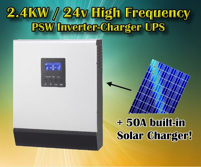 PIP 2424HS 2400w 24v to 220V off grid solar inverter pure sine wave inverter with battery charger and solar charger 50A(Taiwan)