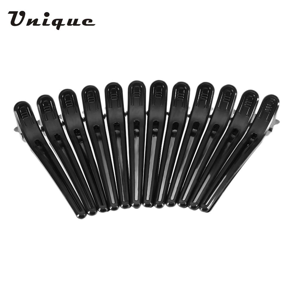 Professional 12Pcs Black Hair Grip Clips Hairdressing Sectioning Cutting Clamps Professional Plastic Salon Styling Hair Clips(China (Mainland))