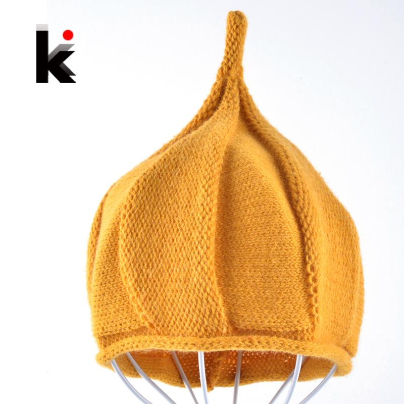 2016 Autumn Halloween Pumpkin Beanies Children's pointy cap baby beanie kids christmas girl baby photography props hat(China (Mainland))