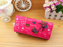 Free Shipping Women Hasp Wallet Female Purse Lady Cute High-heeled Shoes Butterfly Clutch Money Holder bolsa carteira feminina(China (Mainland))