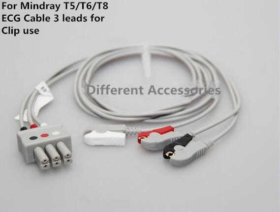 Free Shipping Compatible For Mindray T5/T8 3 ECG Wires Leads,Clip Grabber ,TPU, AHA Patient Monitor ECG Cable 3 Leads Cables
