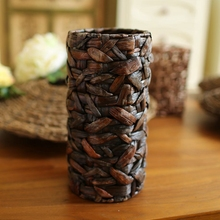 New Unique Corn Husk Hand-weaved Artificial Flower Vase Handmade Flower Container Receptacle Basket Vase Home Decor Supplies(China (Mainland))