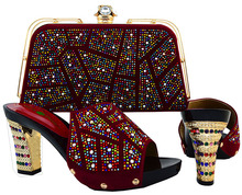 2017 New red african italian shoes and matching bags for wedding party evening dress, 1612y1022d30(China (Mainland))