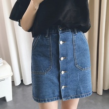 Buy Summer Style Women Mini Skirts High Waist Sexy Womens Pockets Blue Single Breasted Denim A-Line Skirt for $8.09 in AliExpress store