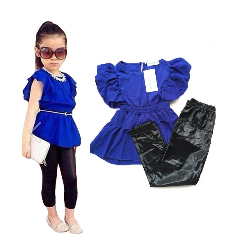 2015 New Fashion Summer Children Girls Clothing Sets Blue Shirt Dress Black Leggings Cool Baby
