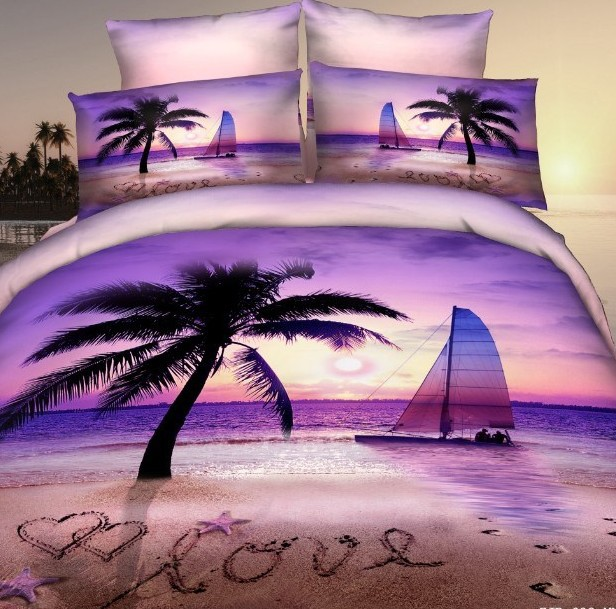 3d violet amour plage couette ensemble de literie reine taille romantique couvre lit de couette. Black Bedroom Furniture Sets. Home Design Ideas