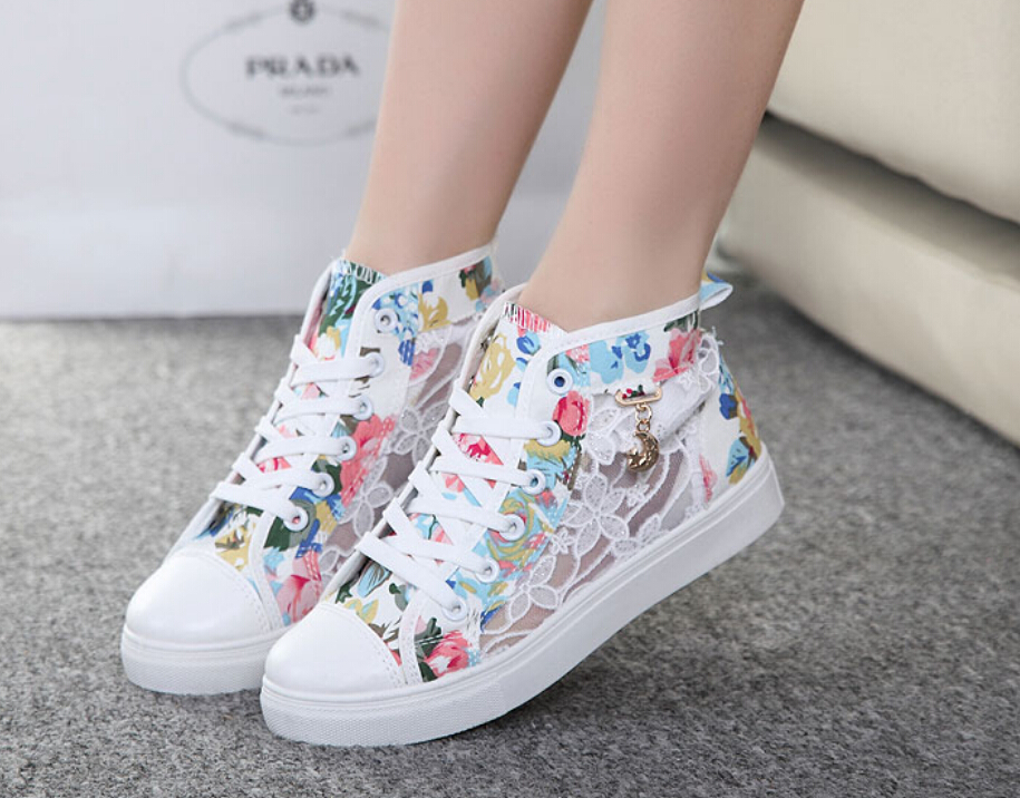 2015 Summer new High help canvas shoes Lei mesh gauze female students casual shoes single shoes breathable mesh shoes(China (Mainland))