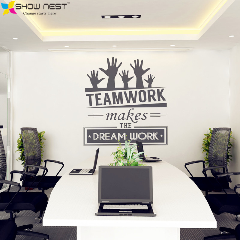 """Office Wall Stickers Vinyl Decal Art - Office Mural Decor - Office Sticker - """" Teamwork makes the dream work """" Quotes Decal(China (Mainland))"""