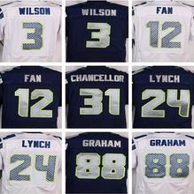 Best quality jersey,Men's 12 12th Fan 24 Marshawn Lynch 25 Richard Sherman 31 Kam Chancellor 88 Jimmy Graham elite jersey(China (Mainland))