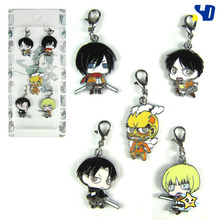 Attack on titan Metal Keychain With Blister Card 5pcs/set  10set/lot Free Shipping